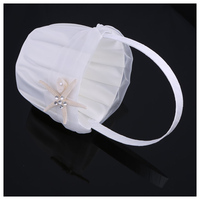 HOT-Romantic Wedding Satin cloth Cute Small Flower Girl Basket for Wedding
