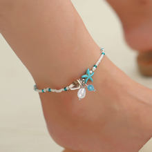 Bohemian Handmade Summer Style Beach Gold Silver Color Double Leaves Pendant Anklet Foot Chain Beads Anklets(China)
