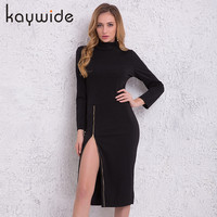 Kaywide High Neck New Autumn Women Casual Dress Side Zipper Up Split Sexy Party Dresses Plus