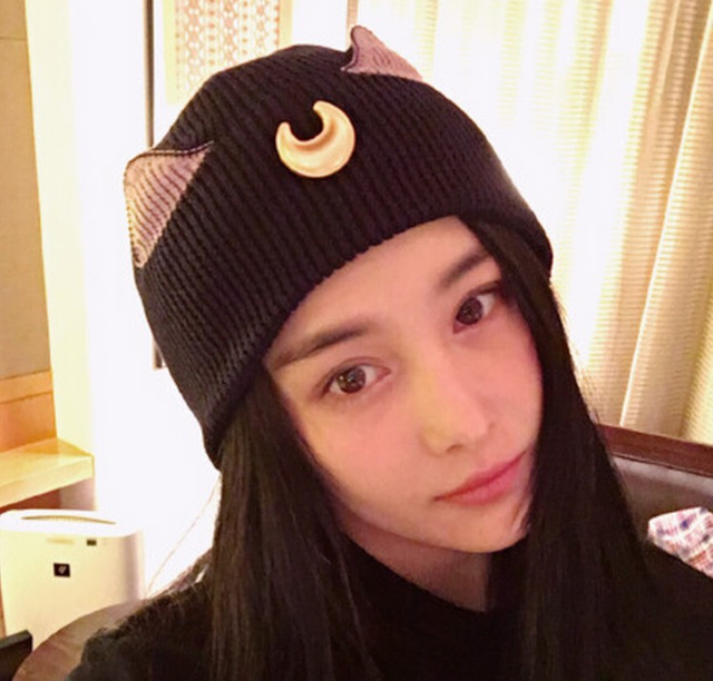 2018 Autumn and Winter Wool Cat Ears Cartoon Crescent Sweet Wool Knit  Casual Innocent Warm Instagram Female Hat Skulies f90220187ef