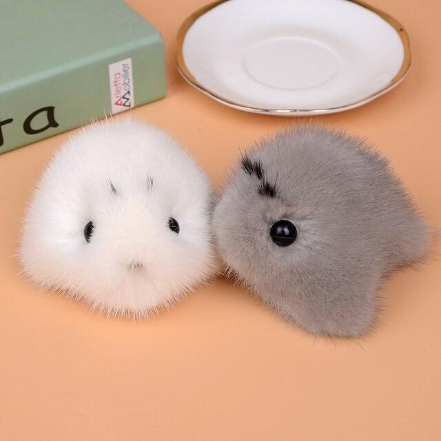 Cute Fluffy Genuine Mink Fur Keychain Pom Pom Plush Seal Keychains Animal Key  Ring Pendant Women Bag Charm Car Accessories 920ecc30d908