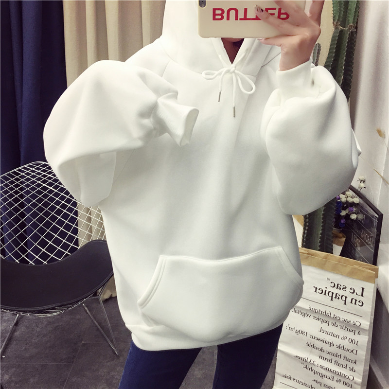 Zuolunouba 2018 winter Casual Fleece women Hoodies Sweatshirts long sleeve yellow girl Pullovers loose Hooded Female