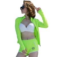 2017 Summer High Quality 3 Pieces Sexy Women Bikini Swimwear With Long Sleeves Bright Green Sport