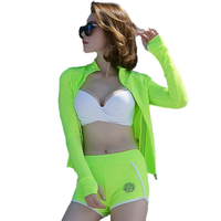 2017 Summer High Quality 3 Pieces Sexy Women Bikini Swimwear With Long Sleeves Bright Green Sport