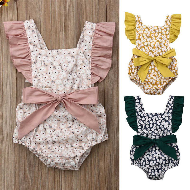 2019 Newborn Kid Infant Girl Floral Backless Clothes Ruffle Romper Jumpsuit Baby Summer Playsuit