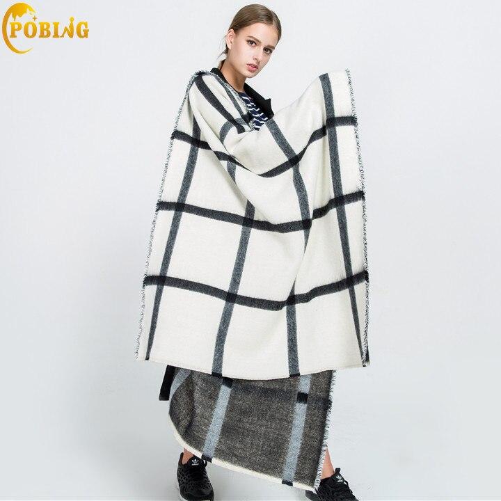 8b8d5e46140 US $13.65 35% OFF POBING Brand za Winter Scarf Women Double Tartan Plaid  Cashmere Scarves Oversized Basic Acrylic Shawls Wrap Female Blanket  Scarf-in ...