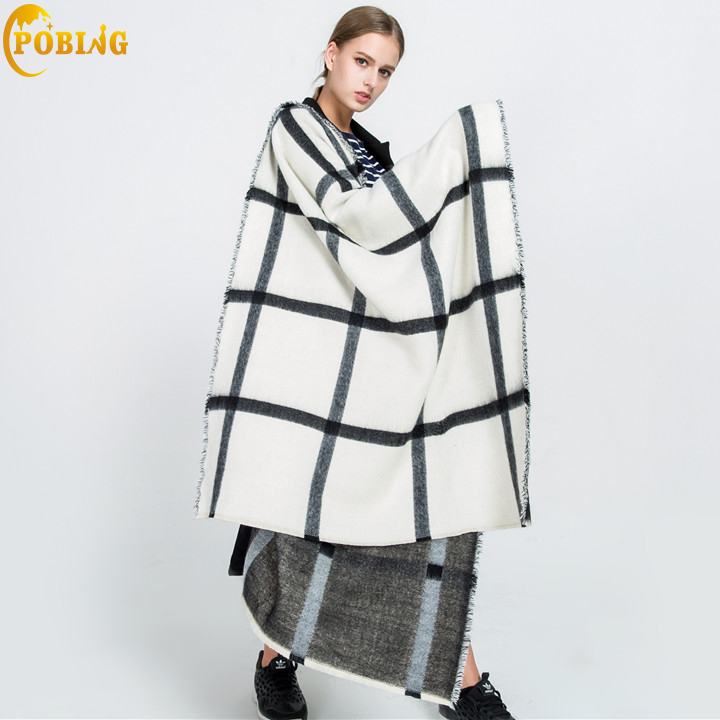 POBING Brand za Winter <font><b>Scarf</b></font> Women Double Tartan Plaid Cashmere <font><b>Scarves</b></font> Oversized Basic Acrylic Shawls Wrap Female Blanket <font><b>Scarf</b></font>
