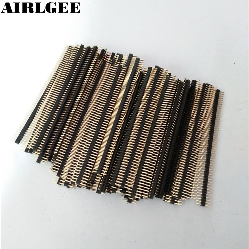 100pcs 50 Way Single Row Straight Pin Male Header Strip 1.27mm Pitch Free shipping 10 pcs 2x10 p 20 pin 1 27 mm male header dual row straight pcb smt male pin headers rohs lead free