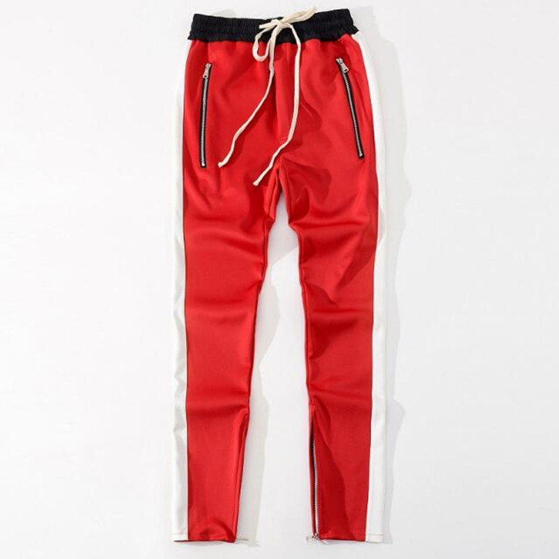 2018 New bottoms side zipper pants hip hop Fashion urban clothing justin bieber FOG Joining together jogger pants Black red blue