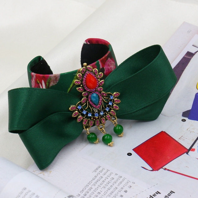 2016 Fashion Bangle Statement Baroque DG flower Gem green bowknot love Bracelets women Gift Wrist Band Bride Jewelry Accessories