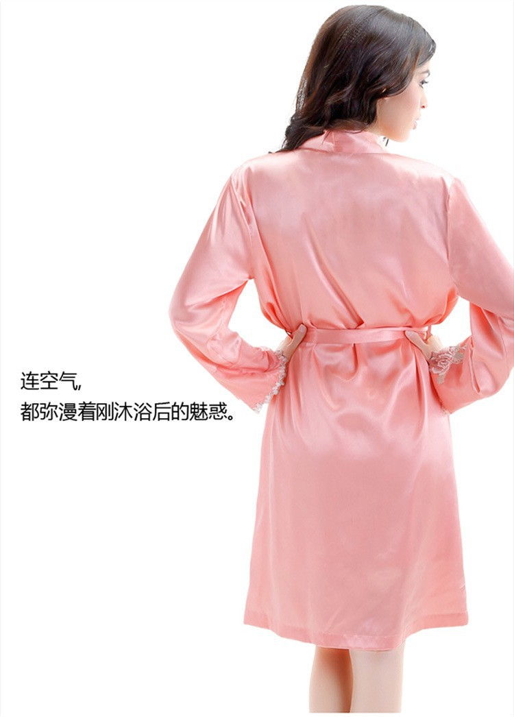 Pink Silk Robes and Nightgowns Two Piece Sets for Women Back View