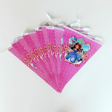 2.5m/set Princess Sofia Party Banner And Flag Cartoon Theme Favors/Girls Happy Birthday Decoration Supplies