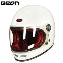 BEON полный шлем для мотокросса из стекловолокна beon B510 винтажные мотоциклетные профессиональные Ретро шлемы ECE Сертификация