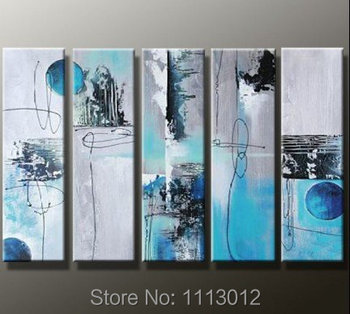 High Quality Hill Mountain Water Oil Painting Abstract On Canvas 5 P Set Home Wall Art Picture For Living Room Decoration Modern