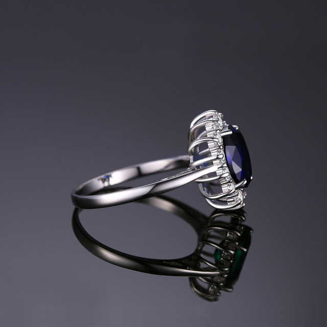 Blue Sapphire Engagement 925 Sterling Silver Ring 3