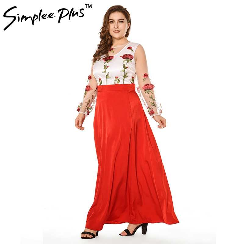 d470ef0957 Simplee Plus Mesh Rose Flower Floral Embroidery Runway Maxi Women Bohemia  Beach Perspective Lace Long Dress
