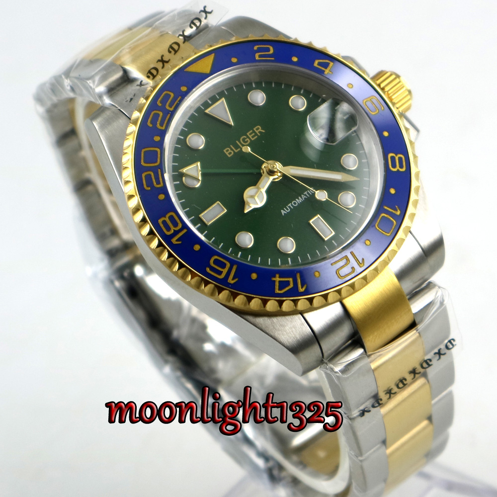 BLIGER 40MM Green Dial Ceramic Bezel Green GMT Function Sapphire Gold Plated Luminous Automatic Movement Men's Watch