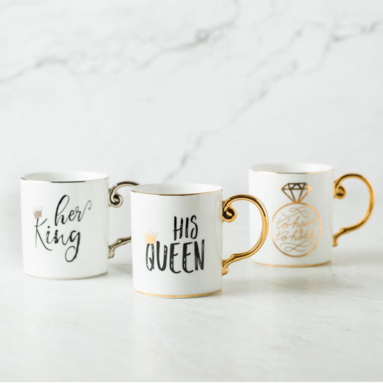 Luxury Gold King and Queen Diamond Porcelain Coffee Mug Tea Milk Ceramic Cups and Mugs Wedding Gift gift for boyfriend on anniversary