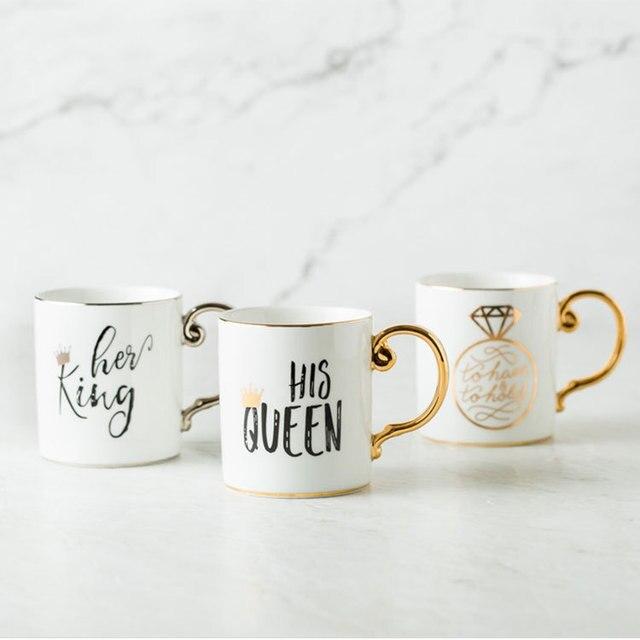 Luxury Gold King And Queen Diamond Porcelain Coffee Mug Tea Milk Ceramic Cupugs Wedding