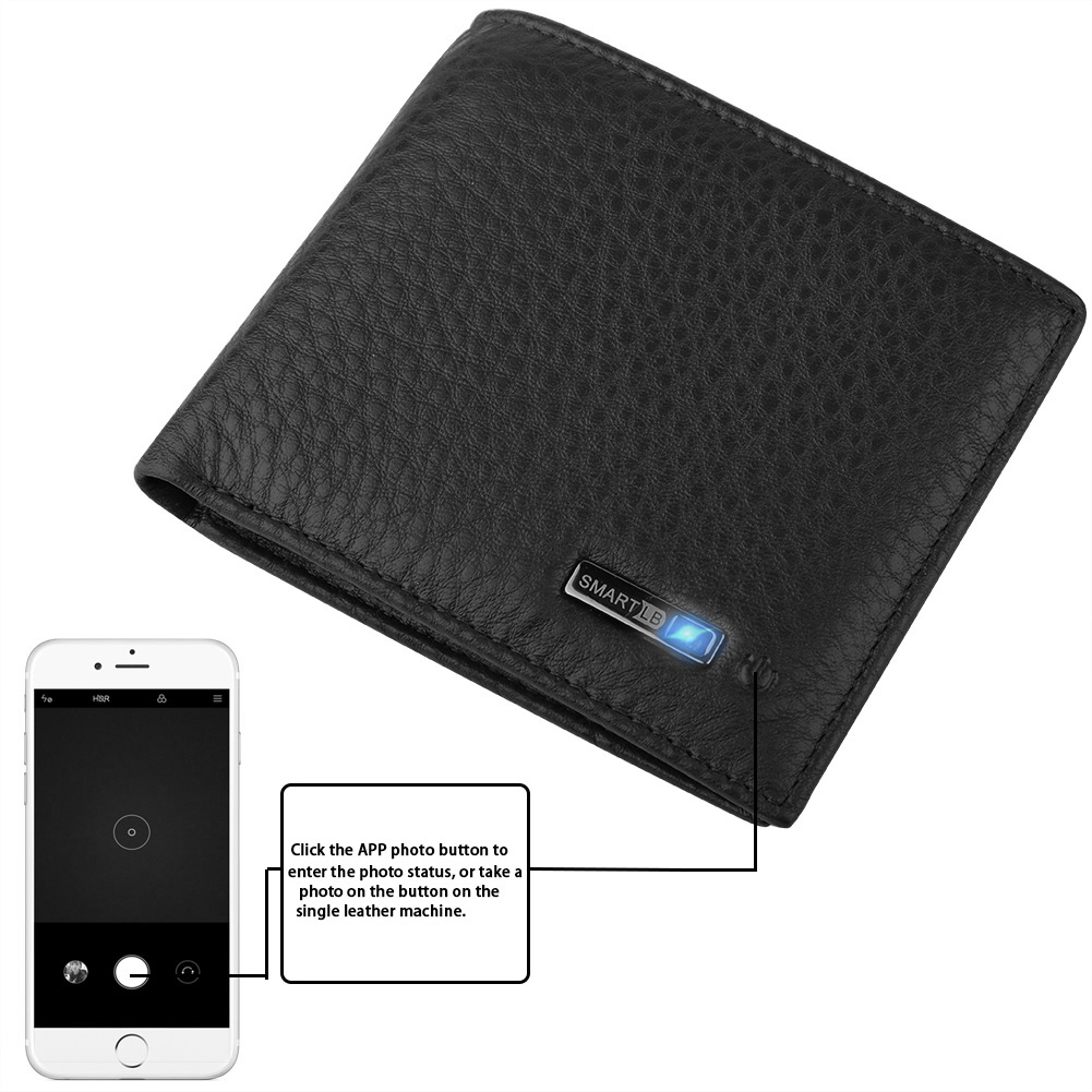 1pc Men's Genuine Leather Billfold Smart Wallet Bifold Wallet Bluetooth GPS Tracking Anti-lost Positioning Wallet
