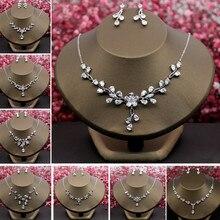 Charming Cubic Zirconia Necklace Earrings Jewelry Gifts for Wedding Bridal Bridesmaids Zircon Choker Pendant Bijoux Christmas