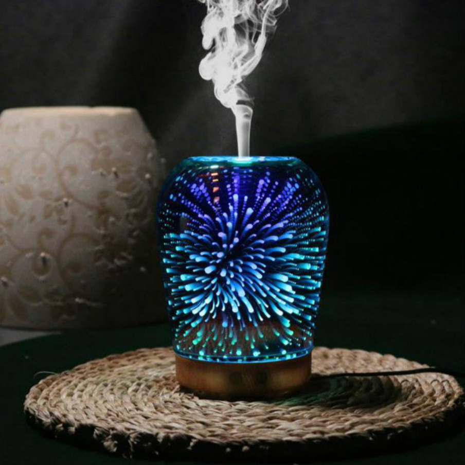 3D Essential Oil Diffuser, 100ml Aromatherapy Ultrasonic Cool Mist Humidifier 3D Design Glass 7 Colorful Light Mode Function O