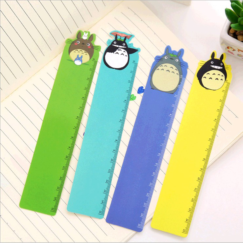 1 Pc New Cartoon Straight Kawaii Tools Drawing Gift Korean School Office 15cm Plastic Rulers Flexo Stationery Totoro