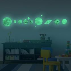 9pcs Planets Luminous Wall Stickers Solar System Fluorescent Wall Stick Waterproof DIY Kids Room Decor Gifts