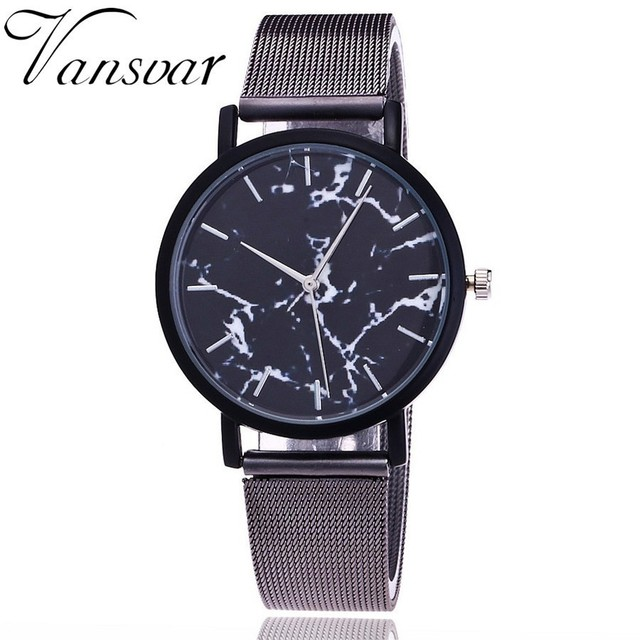 Vansvar Brand Fashion Classic Mesh Band Marble Dial Wrist Watch Casual Unisex Qu