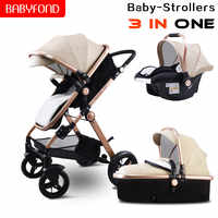 Fast shipping! Luxury 3 in 1 baby stroller  aluminum frame CE certified luxury stroller Low price processing
