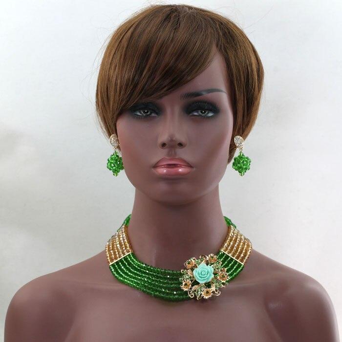 Encanto Hierba Verde Joyería de La Boda Africana Set con Broches Partido Nigeria