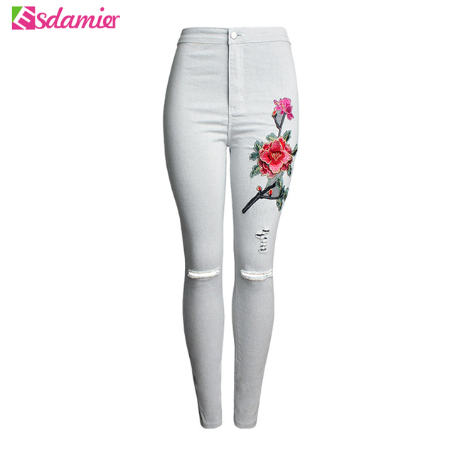 Good Quality Stretch Embroidery Ripped Jeans Woman High Waist Skinny Jeans For Women Sexy Hip Lift Jeans Femme Black Gray
