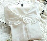 White Cotton Shirt Peter Pan Collar Top Women