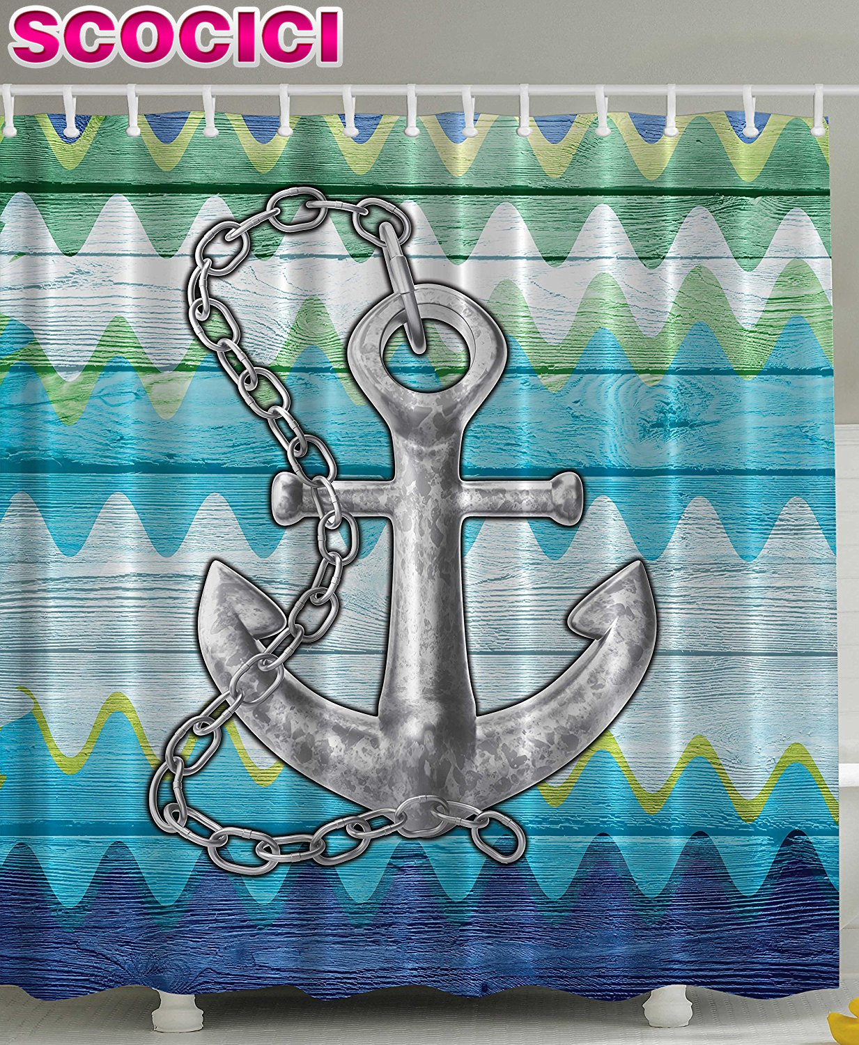 Chevron shower curtain with anchor - Chevron Shower Curtain Anchor Decor Nautical With Steel Chain Rustic Wooden Planks Buoy Kids Home Textiles Bath Decor Lovely Dre In Shower Curtains From