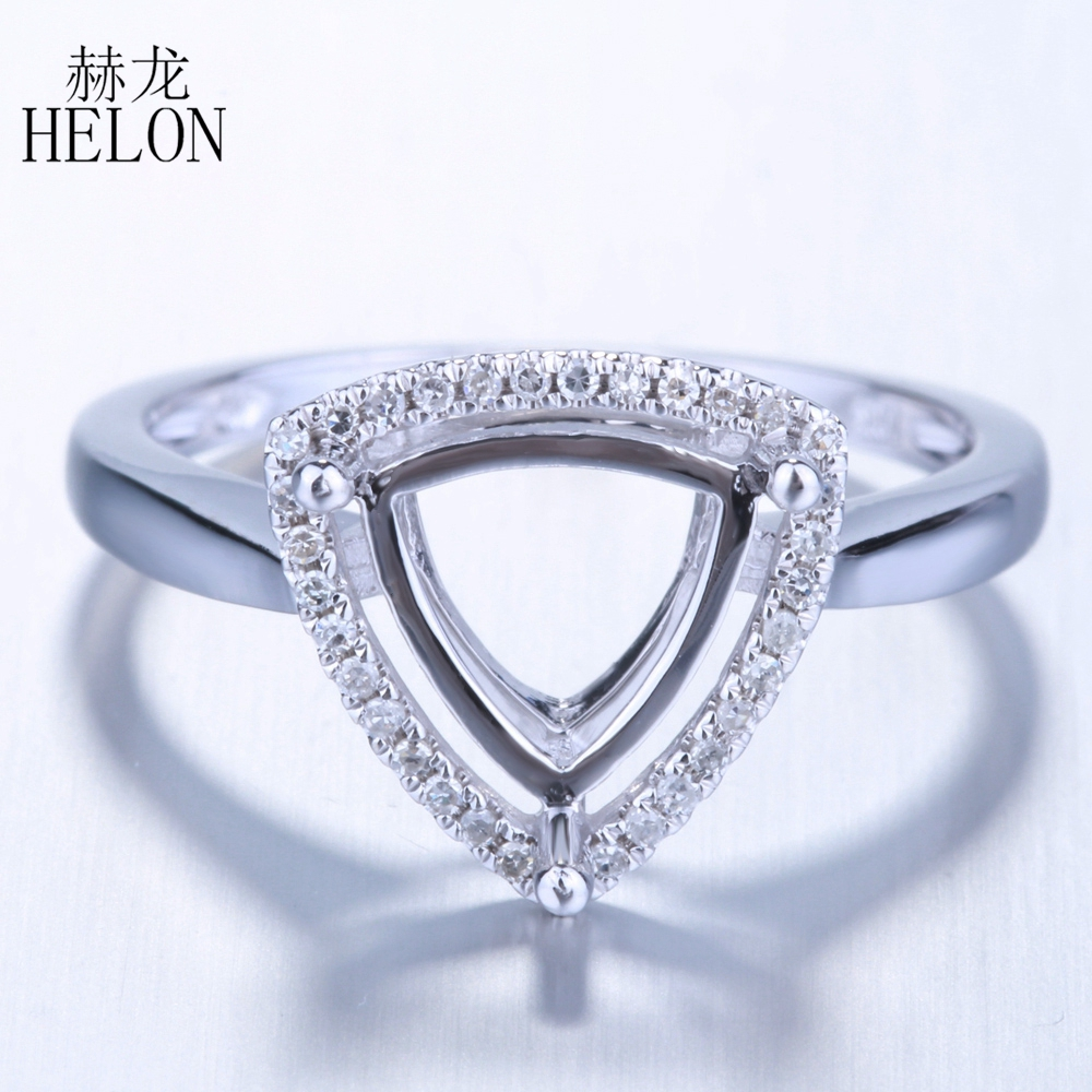 HELON Solid 10K White Gold Engagement Wedding Diamonds Ring Trillion Cut 8x8mm Semi Mount Ring Setting Women Party Jewelry Gift