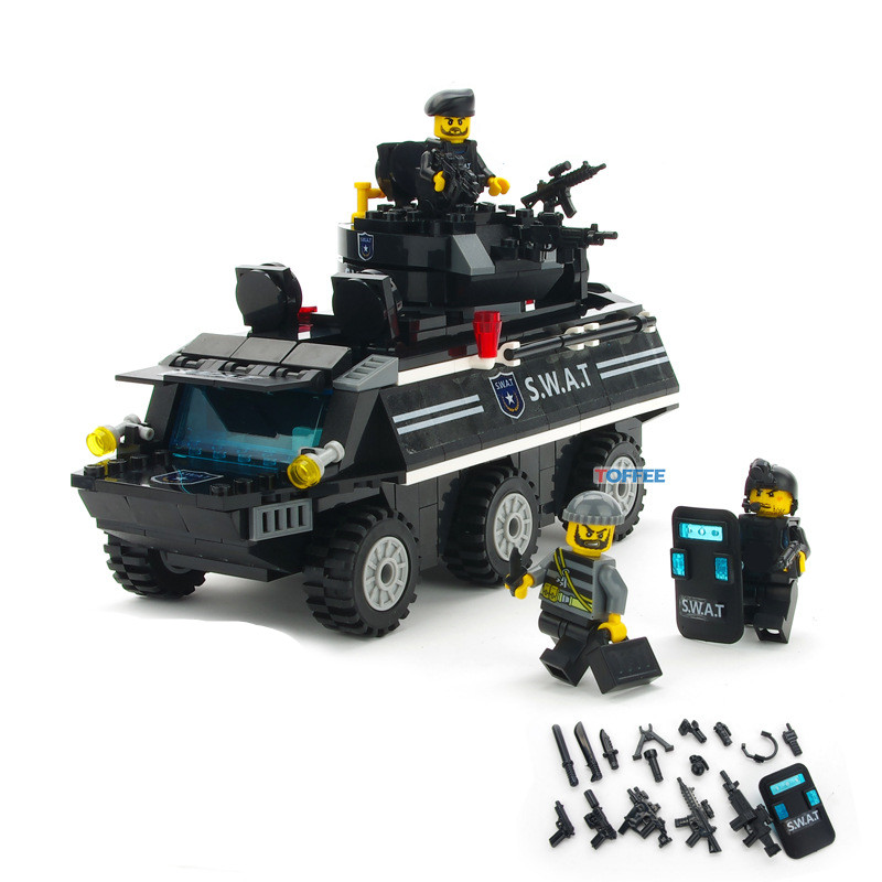 349pcs Armored Car CITY POLICE Military SWAT Soldier Army Special Forces Navy Seals Team Mini Building Blocks Figures Toys Boys 6pcs police swat power city minifigures mini police jeep car armored truck building blocks policeman wapons toy figure