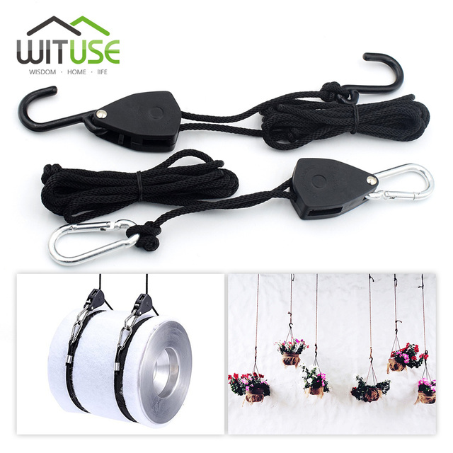 WITUSE 2 Pieces 1/8 Inches Rope Ratchet Reflector Grow Light Hangers Light Lifters Adjustable Rope System Rope Hook