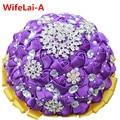Stunning Diamond Romantic Purple Crystal Artificial Flower Wedding Bouquet Yellow Violet Ribbon Bride Hand Holding Bouquet PL001