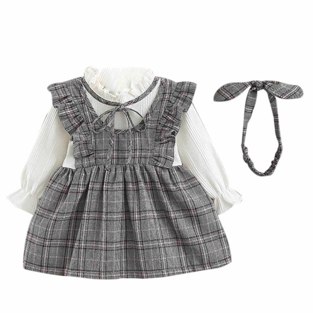 פעוט ילד בנות תינוק שמלה ארוך שרוול פס קשת המפלגה נסיכת שמלה + סרטי ראש סט תינוק שמלות ילדה Sukienka Niemowleca