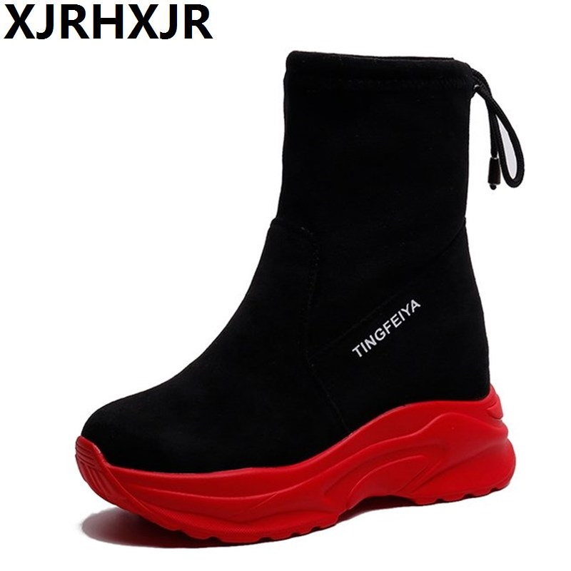 XJRHXJR 2018 Autumn Women Ankle Boots Height Increased 8CM Boots Plush Warm WINTER Boots Wedges Platform Shoes Sneakers Woman цена