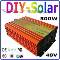 solar system 500W 48V inverter for home use solar system, high frequency pure sine wave output with 1000W Surge Power