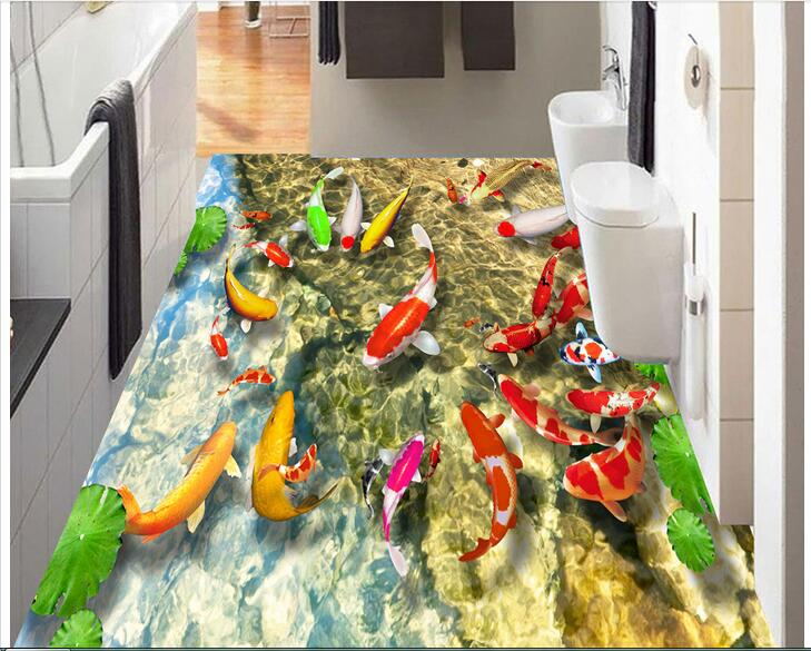 3d pvc flooring custom photo Self-adhesive material picture Chinese lotus carp  wallpaper for walls 3d landscape painting customize wallpaper for walls 3 d swan lake picture in picture 3d tv backdrop 3d photo wall mural 3d landscape wallpaper