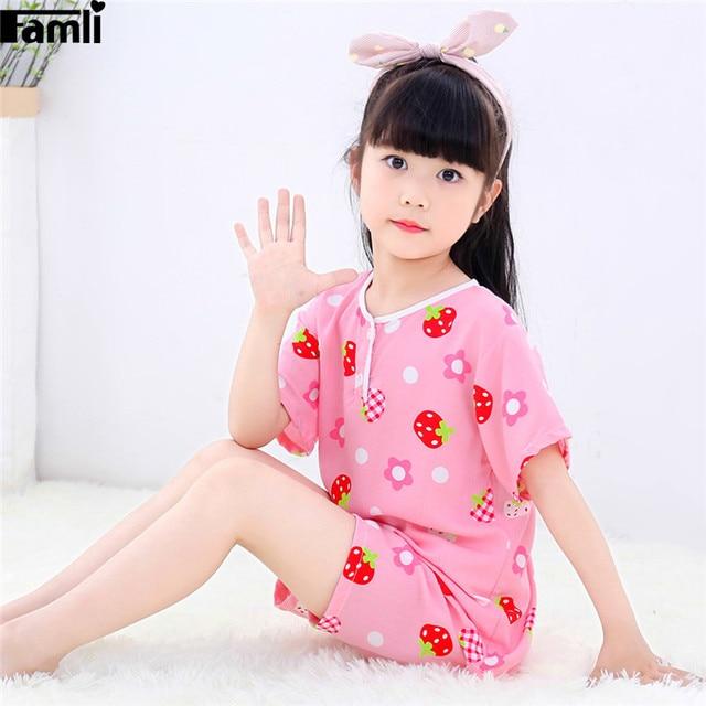 a8f462d3d993c Baby Girls Pajama Set Summer Kids Cartoon Pyjamas Children Short Sleeve  Thin Sleepwear Cute Home Clothing Nightwear