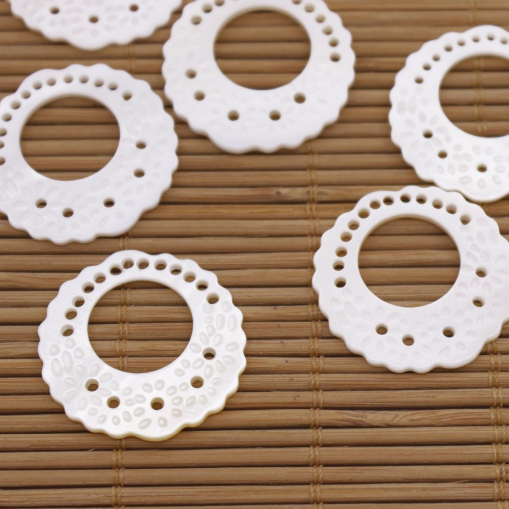 Купить с кэшбэком 10 PCS 27mm Shell Natural White Mother of Pearl Jewelry Making Circular Shape