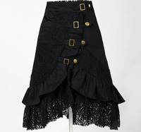 female black skirt steampunk clothing women gypsy urban jupe saia hip hop fashion punk skirts sexy novelty club wear lace skirts