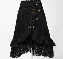 цена на female black skirt steampunk clothing women gypsy urban jupe saia hip hop fashion punk skirts sexy novelty club wear lace skirts