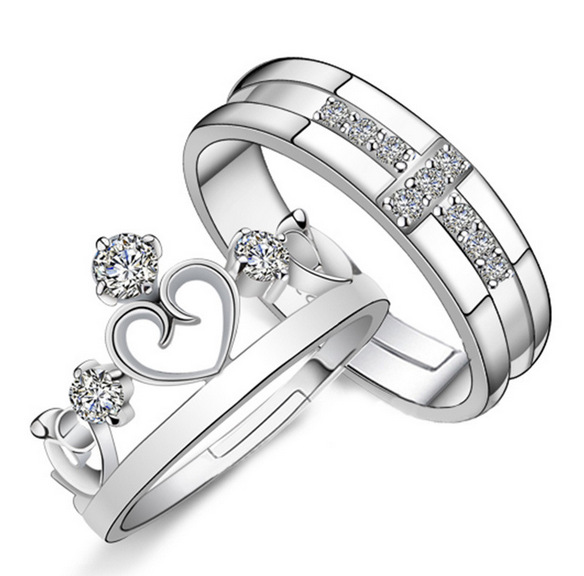 1 Pair =2pcs Romantic Silver-color Crystal Ring Jewelry Engagement Love Crown Charms Wedding Lovers Couple Rings for Women Men