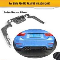 Difusor traseiro conversível padrão do difusor da parte traseira do carro da fibra do carbono para bmw f80 m3 f82 f83 m4 14-19 brilho preto