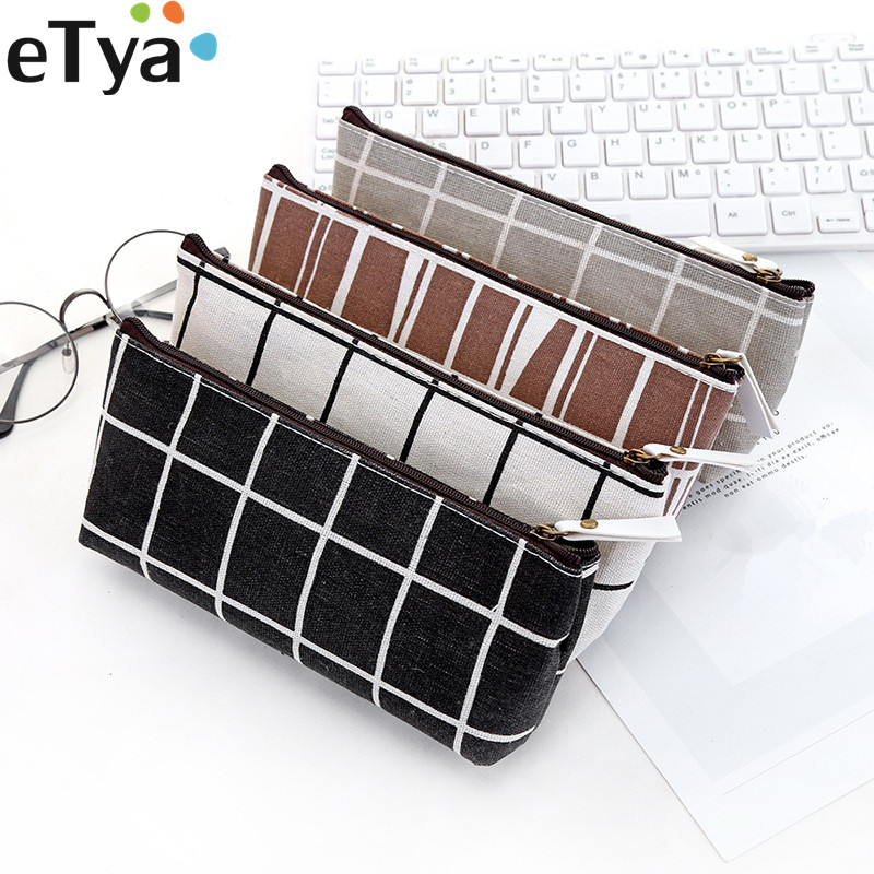 ETya Women Small Cosmetic Bag Organizer Canvas Zipper Ladies Make Up Bag Fashion  Student Pencil Bag Case Pouch