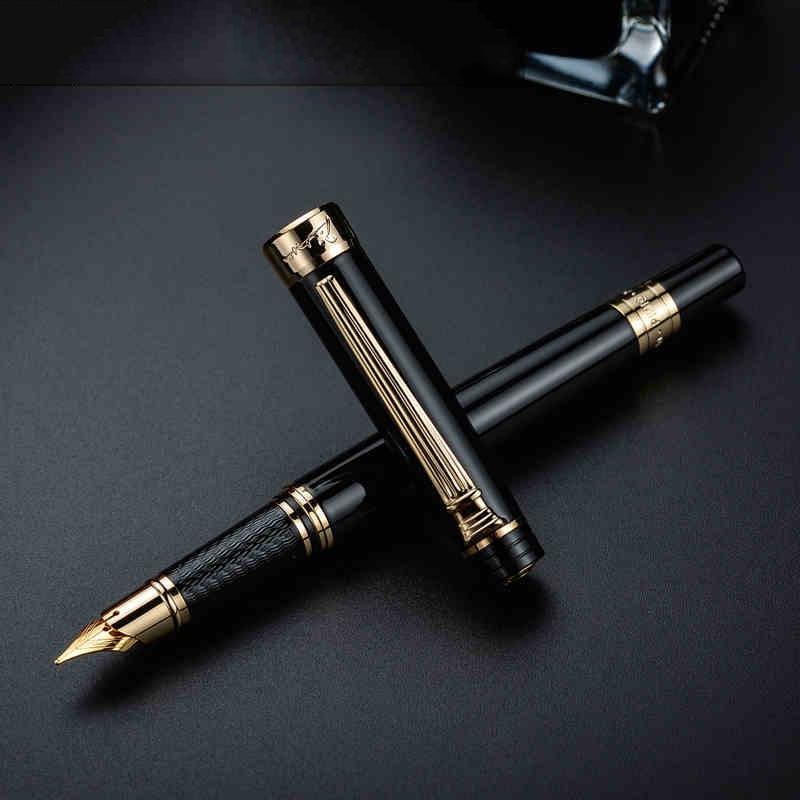 Pimio 5505 Luxury Black and Gold Clip 0 5mm Iridium Nib Fountain Pen Noble Fashion Gift